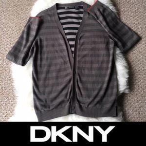 Cozy DKNY Gray & Stripe Cardigan  - SZ: M